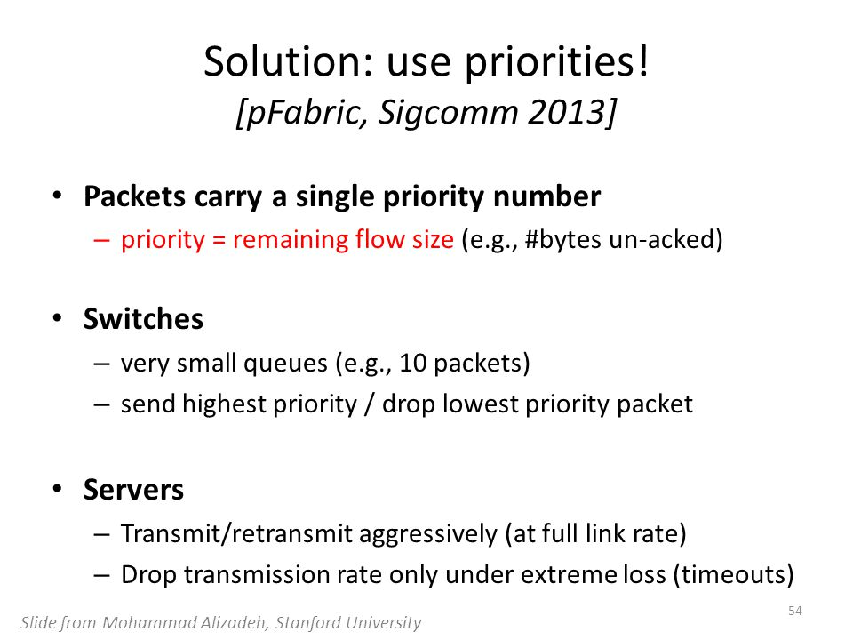 Solution: use priorities! [pFabric, Sigcomm 2013]